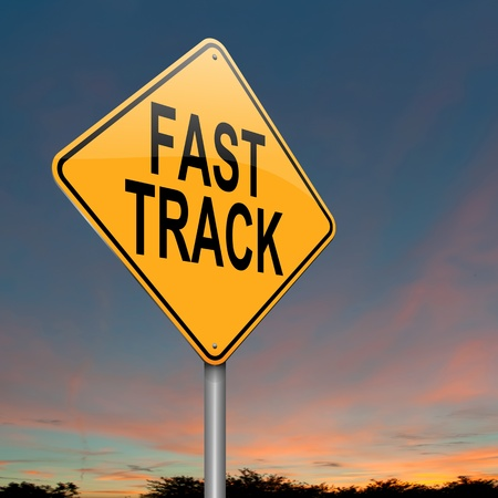 fast track: Illustration depicting a roadsign with a fast track concept. Dusk sky background.