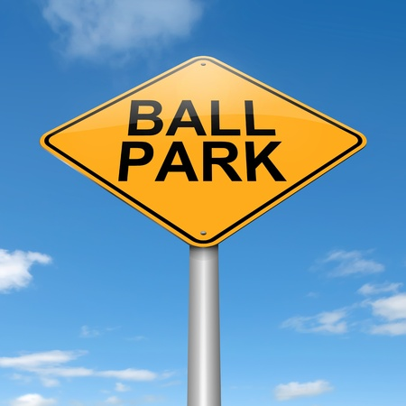 appraise: Illustration depicting a roadsign with a ball park concept. Sky background.