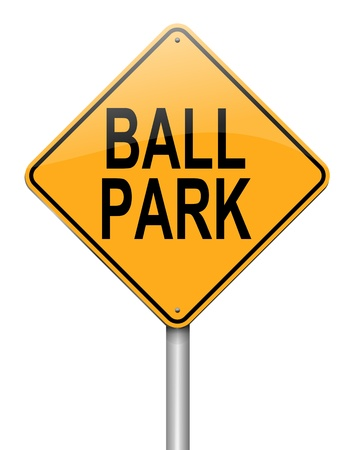 appraise: Illustration depicting a roadsign with a ball park concept. White background.