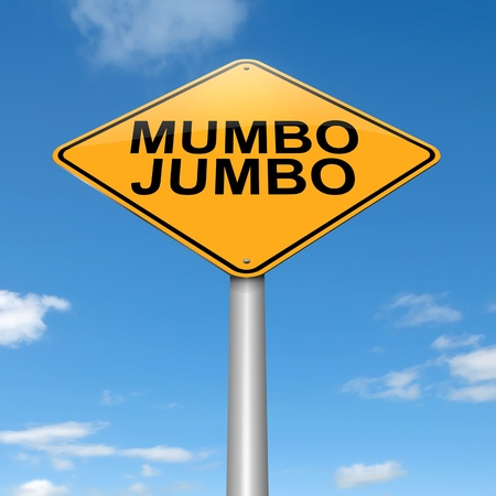 Illustration depicting a roadsign with a mumbo jumbo concept. Sky background. illustration