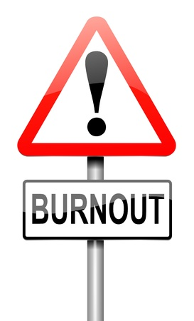over worked: Illustration depicting a roadsign with a burnout concept. White background. Stock Photo