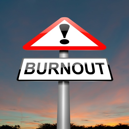 worried executive: Illustration depicting a roadsign with a burnout concept. Dark cloudy background. Stock Photo
