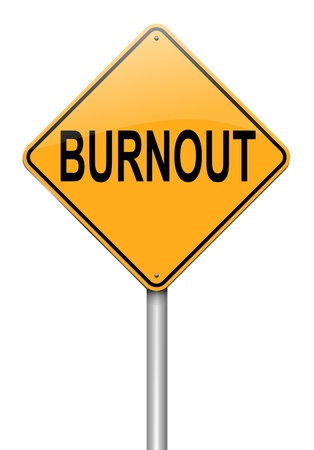 worried executive: Illustration depicting a roadsign with a burnout concept. White background. Stock Photo