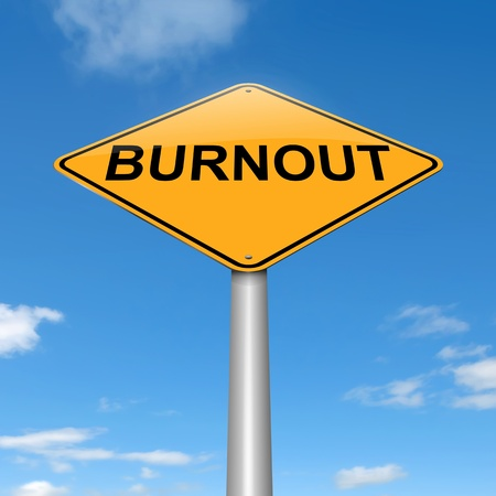 worried executive: Illustration depicting a roadsign with a burnout concept. Sky background.