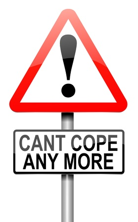 coping: Illustration depicting a roadsign with a cant cope concept. White background.