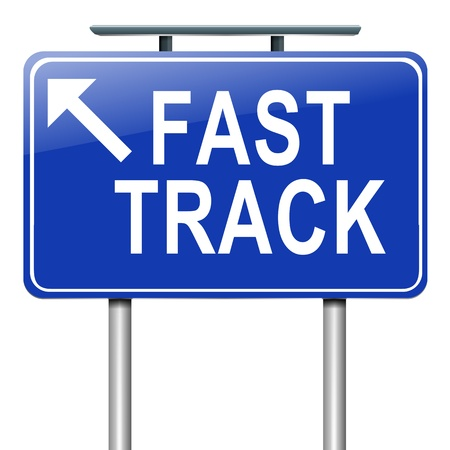 Illustration depicting a roadsign with a fast track concept. White background. illustration