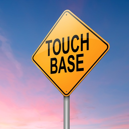 touch base: Illustration depicting a roadsign with a touch base concept  Sunset background