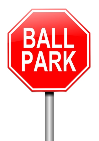 appraise: Illustration depicting a roadsign with a ball park concept  White background