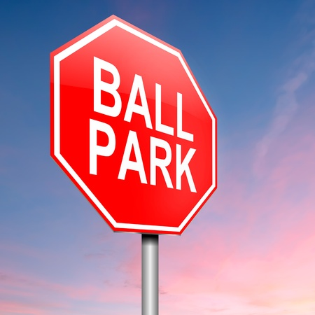 estimate: Illustration depicting a roadsign with a ball park concept  Sky background