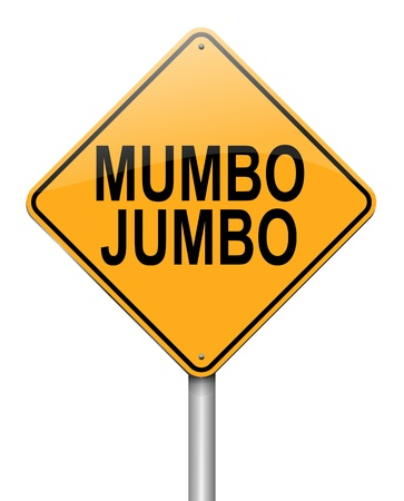 Illustration depicting a roadsign with a mumbo jumbo concept  White background  illustration