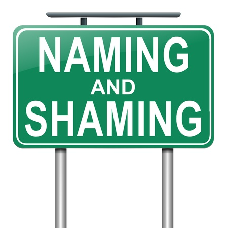 shame: Illustration depicting a roadsign with a naming and shaming concept  White background