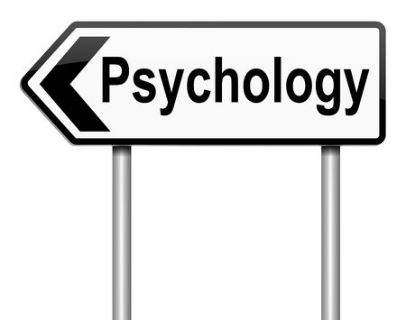 Illustration depicting a roadsign with a psychology concept  White background  illustration