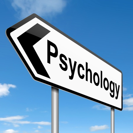 Illustration depicting a roadsign with a psychology concept  Sky background  illustration