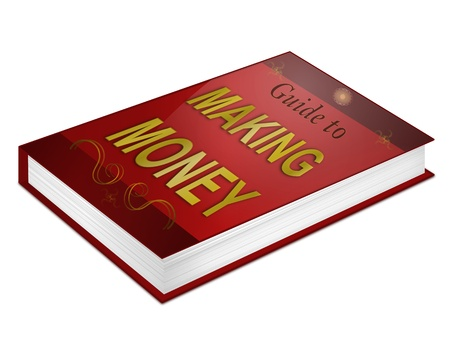 Illustration depicting a book with a making money concept title  White background