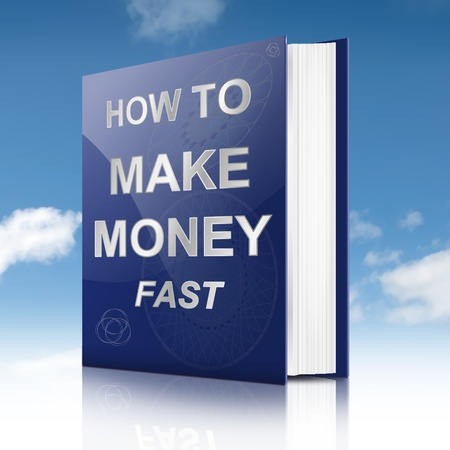 Illustration depicting a book with a making money concept title  Sky background