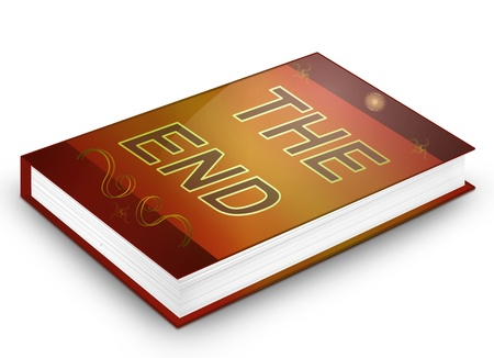Illustration depicting a book with the end concept title  White background Stock Illustration - 16952414