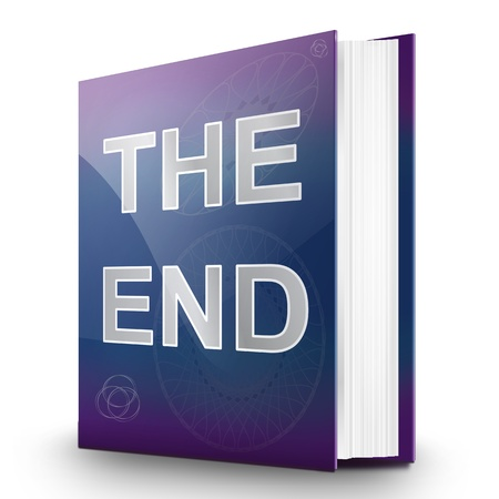 conclude: Illustration depicting a book with the end concept title  White background