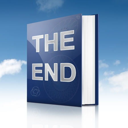 chapter: Illustration depicting a book with the end concept title  Sky background  Stock Photo