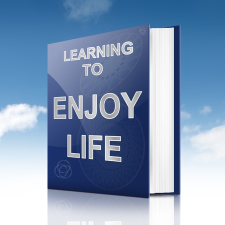 enjoying life: Illustration depicting a book with an enjoying life concept title  Sky background  Stock Photo