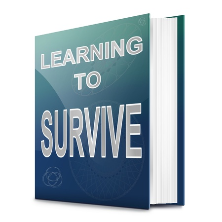 Illustration depicting a book with a learning to survive concept title  White background  illustration