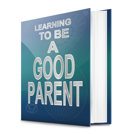 Illustration depicting a book with a parenting concept title  White background  illustration