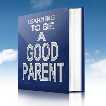 Illustration depicting a book with a parenting concept title  Sky background  illustration