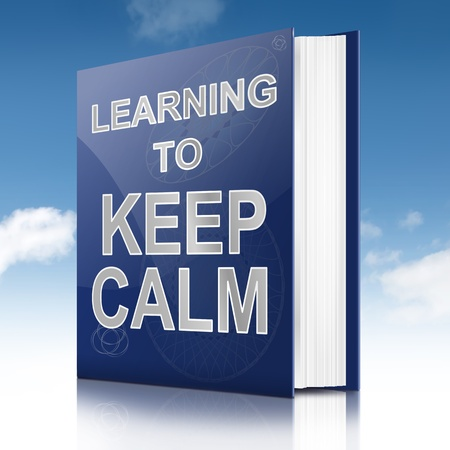 coping: Illustration depicting a book with a keep calm concept title  Sky background