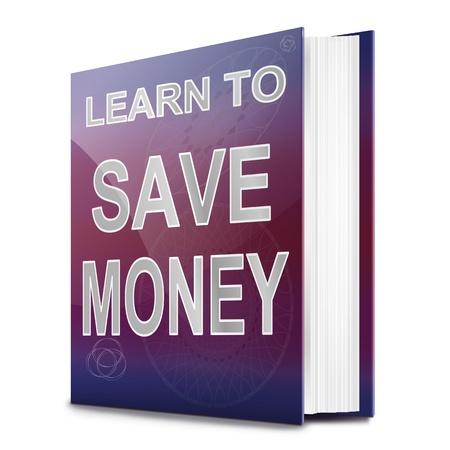 Illustration depicting a book with a saving money concept title. White background. Stock Illustration - 17223262
