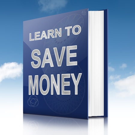retirement savings: Illustration depicting a book with a saving money concept title. White background.