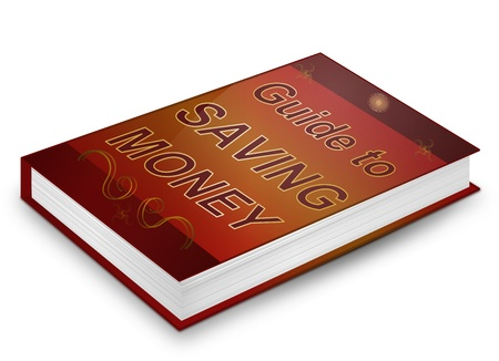 Illustration depicting a book with a saving money concept title. White background. illustration