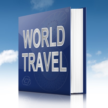 Illustration depicting a book with a world travel concept title. Sky background. Stock Illustration - 17223264