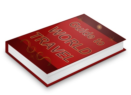 Illustration depicting a book with a world travel concept title. White background. Stock Illustration - 17223271