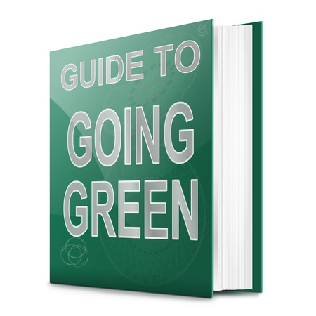 going green: Illustration depicting a book with a going green concept title. White background.