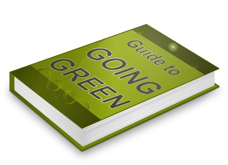 going: Illustration depicting a book with a going green concept title. White background.