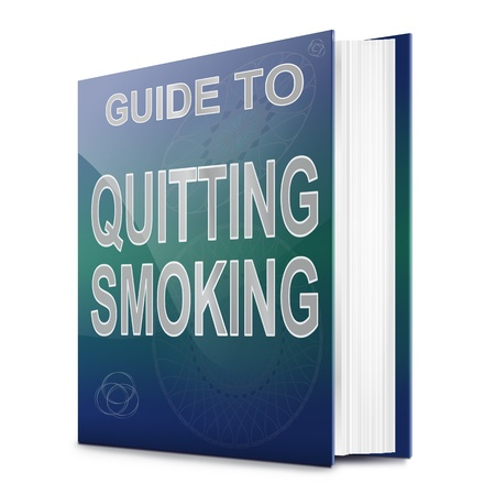 quit smoking: Illustration depicting a book with a quit smoking concept title. White background.