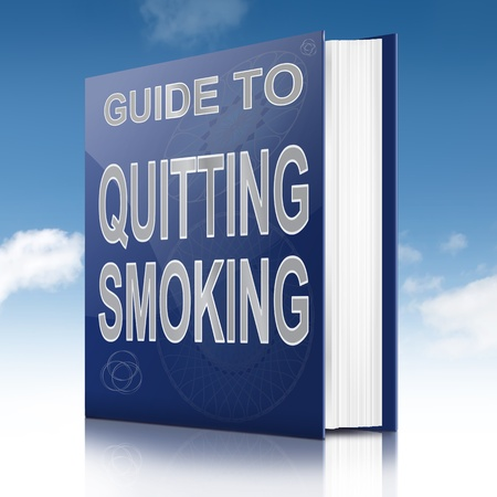 Illustration depicting a book with a quitting smoking concept title. Sky background. Stock Illustration - 17223269