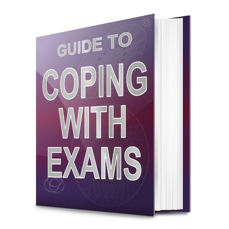 schoolwork: Illustration depicting a book with a coping with exams concept title. White background.
