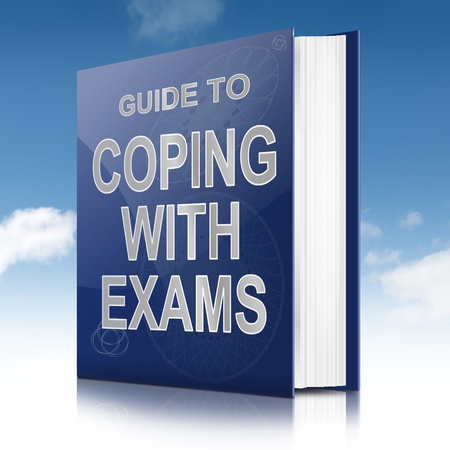 coping: Illustration depicting a book with a coping with exams concept title. Sky background.