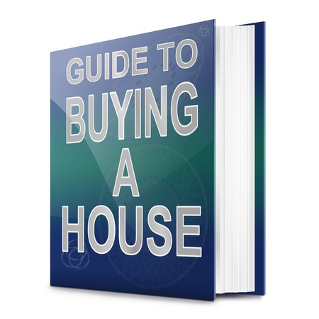 Illustration depicting a book with a house buying concept title. White background. Stock Illustration - 17278232