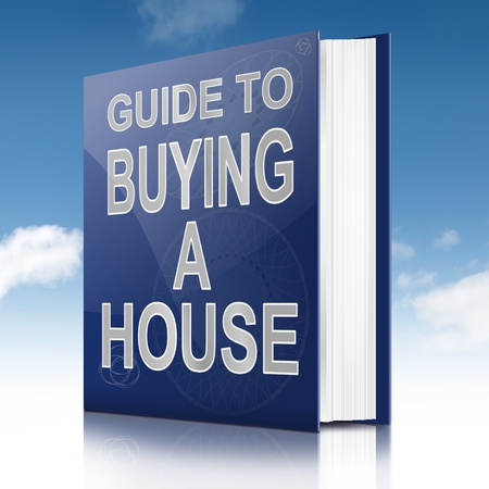 Illustration depicting a book with a house buying concept title. White background. Фото со стока