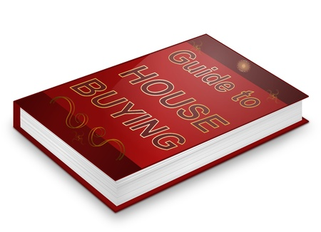 Illustration depicting a book with a house buying concept title. White background. Stock Illustration - 17278246
