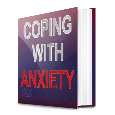 coping: Illustration depicting a book with an anxiety concept title. White background. Stock Photo