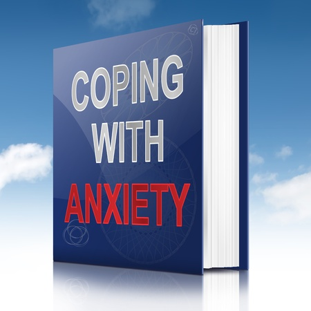 coping: Illustration depicting a book with an anxiety concept title. Sky background.