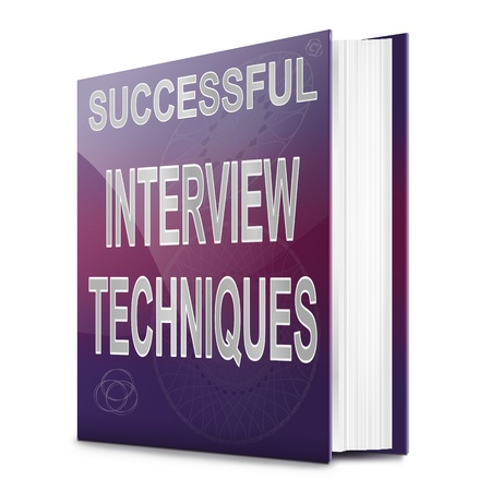 applicant: Illustration depicting a book with an interview technique concept title. White background. Stock Photo
