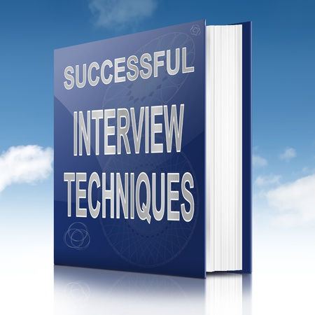 technique: Illustration depicting a book with an interview technique concept title. Sky background.