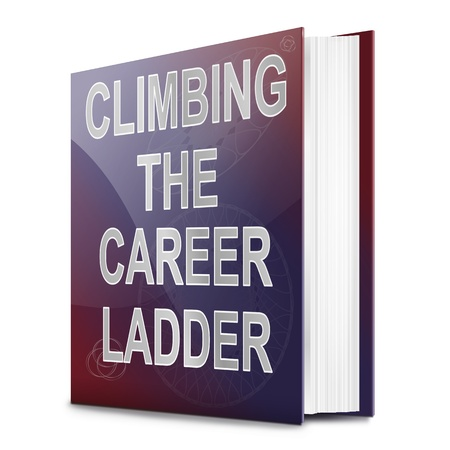 Illustration depicting a book with a career ladder concept title. White background. illustration