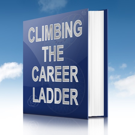 job promotion: Illustration depicting a book with a career ladder concept title. Sky background.