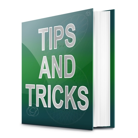 hints: Illustration depicting a book with a tips and tricks concept title. White background.