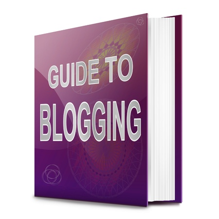 weblog: Illustration depicting a book with a blogging concept title. White background. Stock Photo