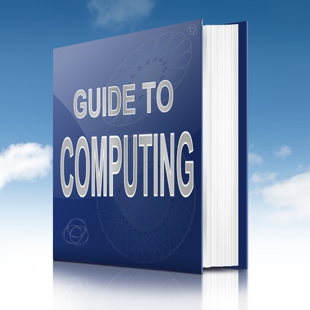 novice: Illustration depicting a book with a computing concept title. Sky background. Stock Photo